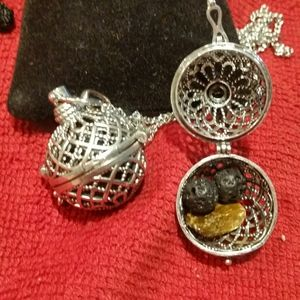 Cage locket lava beads healing stones necklace